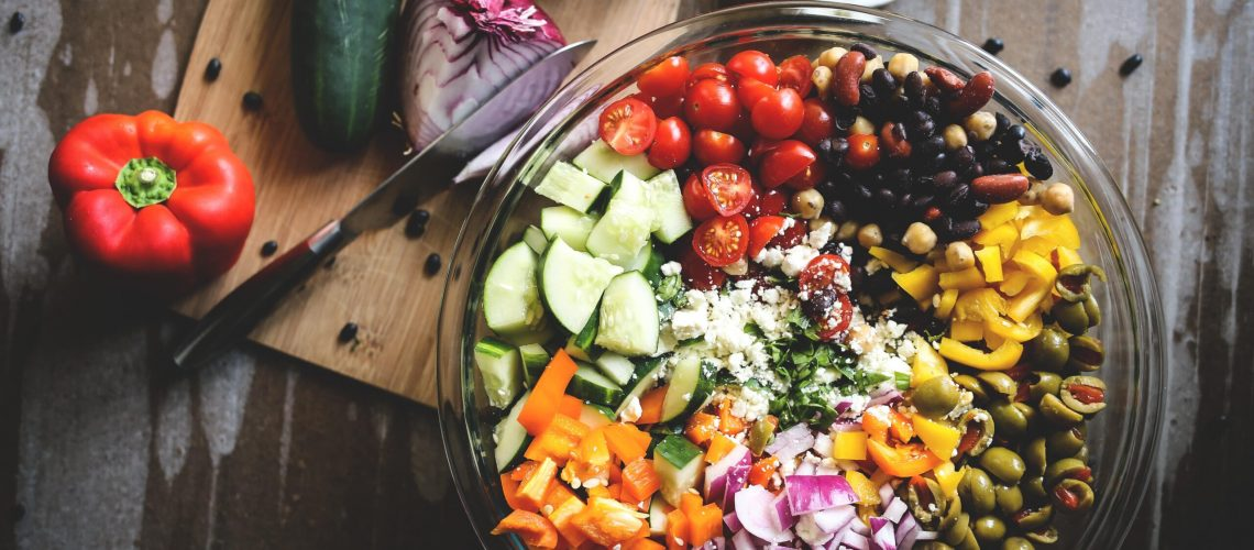 Table with healthy food spread